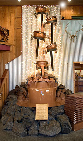 The world's largest chocolate waterfall, here at Alaska Wild Berry Products.